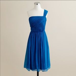 J.CREW Lucienne One Shoulder Royal Blue Silk Dress
